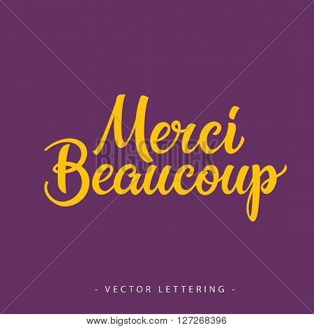 Bright yellow French Merci Beaucoup inscription on purple background