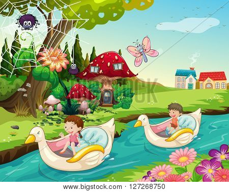 Children riding boats on the river illustration