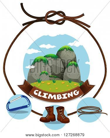 Climbing sign and moutain view illustration