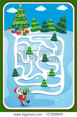 Game template with santa and christmas tree illustration