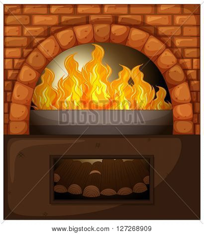Fireplace with fire and woods illustration