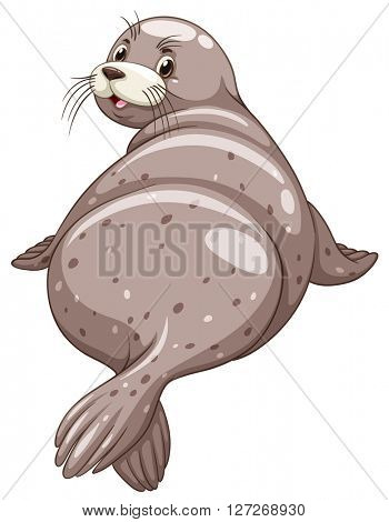 Seal with happy face illustration
