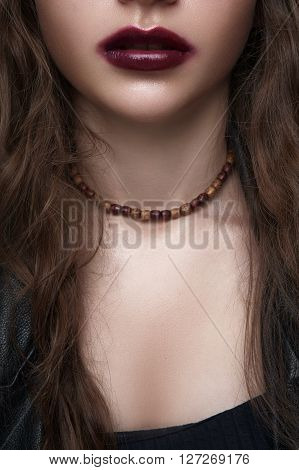 Biker or rocker female Model with wooden Beads