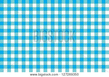 Tablecloth background blue seamless pattern. Vector illustration of traditional gingham dining cloth with fabric texture. Checkered picnic cooking tablecloth.