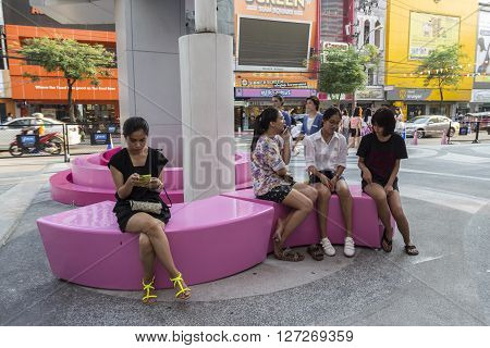 BANGKOK THAILAND - APR 10 : life of people near Digital Gateway at siam square on april 10 2016 thailand. Siam square is famous shopping place of Bangkok