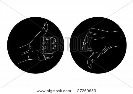thumb up thumb down black and white icon vector illustration