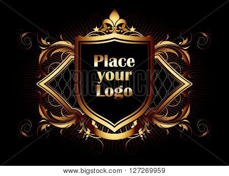 ornamental shield on a black background with a place for your logo
