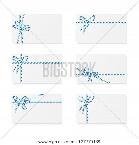 Collection of six card notes with blue bows and ribbons