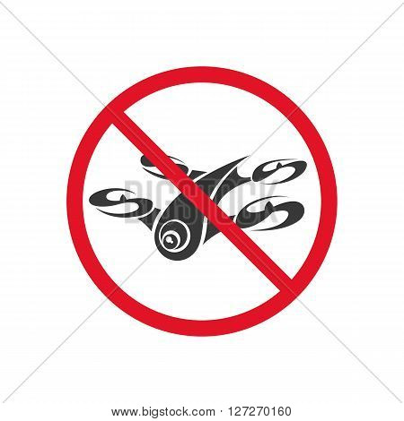 Sign forbidding flight drone on a white background. Vector art.