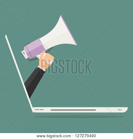 Businessman hand from laptop computer PC holding megaphone for advertising. Vector illustration business online advertisement concept.