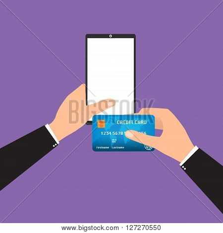 Businessman holding tablet smart phone and credit card for online payment. Vector illustration mobile payment omnichannel e-commerce concept.