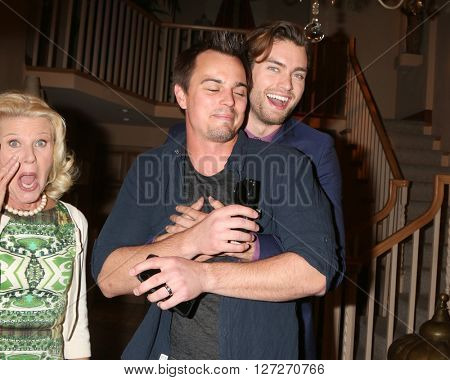 LOS ANGELES - APR 25:  Photobombing Alley Mills, Darin Brooks, Pierson Fode at the Bold and Beautiful Emmy Nominees Celebration at the CBS Television City on April 25, 2016 in Los Angeles, CA