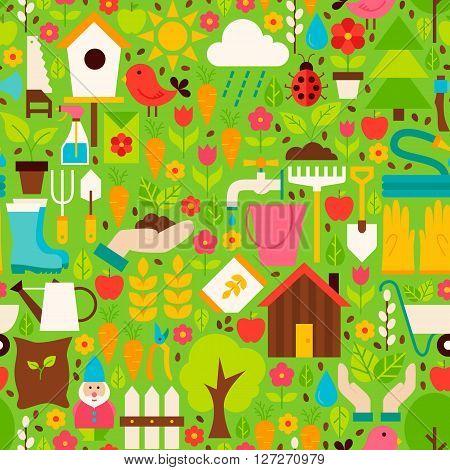 Spring Garden Vector Flat Design Green Seamless Pattern