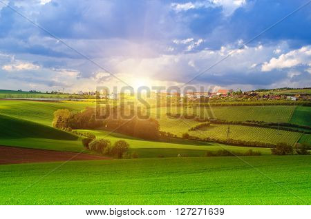 Rural  landscape with fields, waves and blue dramatic sky and sun shining, spring seasonal natural background