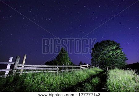 Fantastic view at the starry sky. Wood illuminated lantern at twilight. Dramatic and picturesque scene. Location place Carpathian, Ukraine, Europe. Beauty world. Artistic picture. Astrophotography.