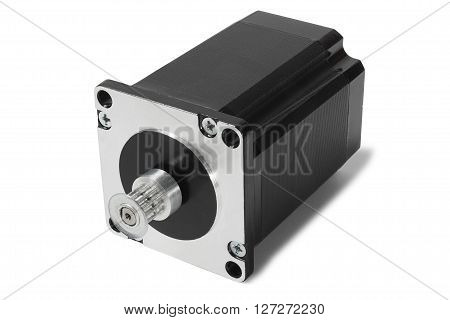 Black stepping motor isolated on white background