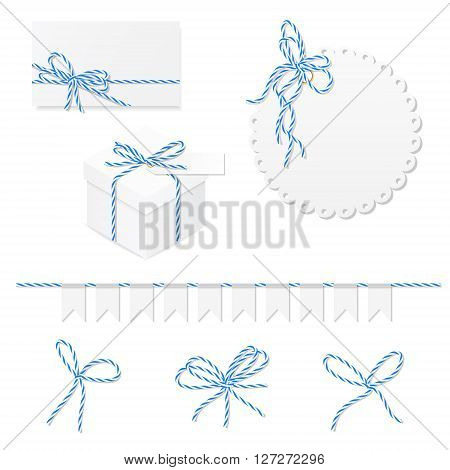 Celebration set of card, box, label, banner and blue bakers twine bows