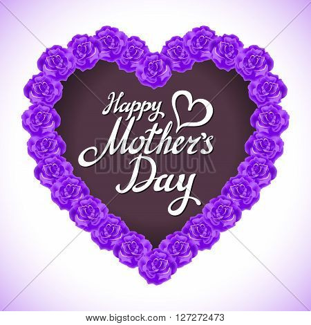 Mother Day Heart Made Of Violet Roses.  Bouquet Of Violet Roses Heart Isolated On White Background.