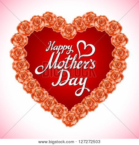 Bouquet Of Orange Roses Heart Isolated On White Background. Yellow Rose Mother Day Heart Made Of Ora