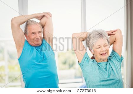 Senior couple performing exercise at home
