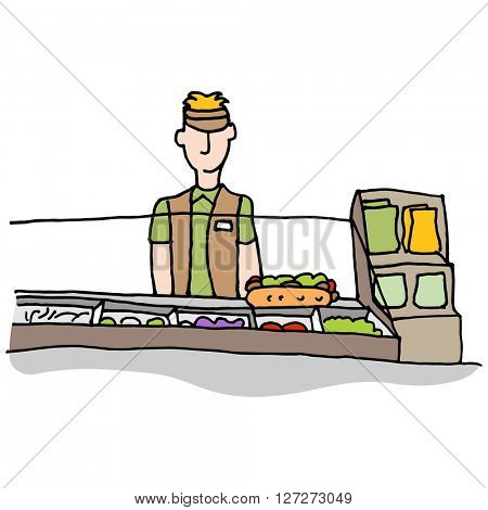 An image of a Sandwich shop worker making food.