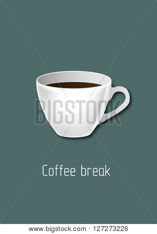 Coffee, coffee mug, white coffee mug, coffee illustration, vector art, vector illustration, coffee break