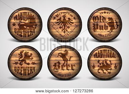set of six covers on the wooden barrels for beer