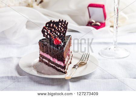 Piece Of Chocolate Wedding Cake