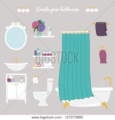 Create your bathroom. Set of vector bathroom and personal hygiene icons. Hand-drawn Vector illustration.