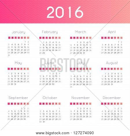 Modern And Simple Calendar 2016. Week Starts From Sunday. Vector Illustration.
