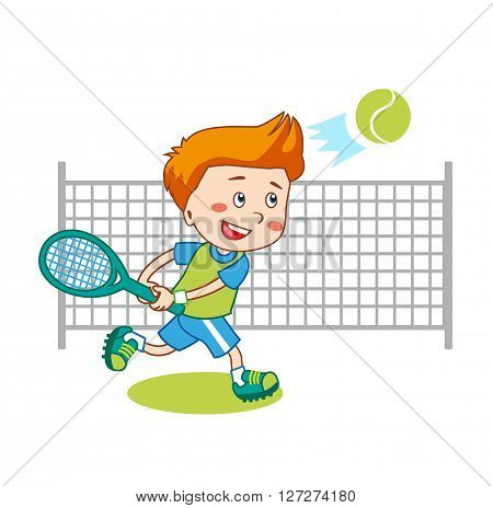 Young Boy. Boy Playing Tennis. Kids Tennis. Vector Illustration on White Background. Tennis in College. Tennis For Beginners. Young Sportsman. Trainee Happy Player Junior.