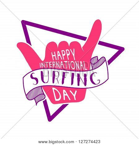 Summer surfing day tattoo design. Vector Vacation typography print emblem. Surfer party with surf symbol - shaka sign. Best for web design or print on t-shirt.