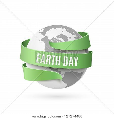 Earth day background with monochrome globe and green ribbon around, isolated on white background. Vector illustration.
