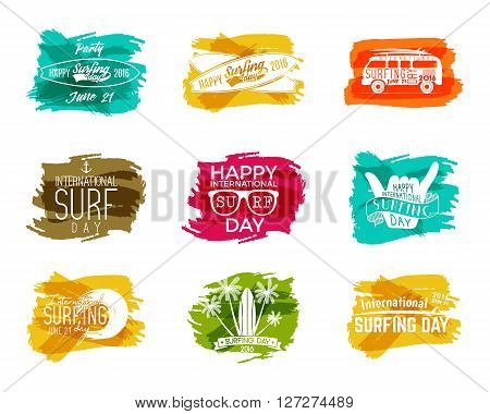 Summer surfing day graphic elements. Vector Vacation typography emblems set. Surfer party with surf symbols - shaka sign, rv style car, board, palms on watercolor ink splash designs. Web or print.