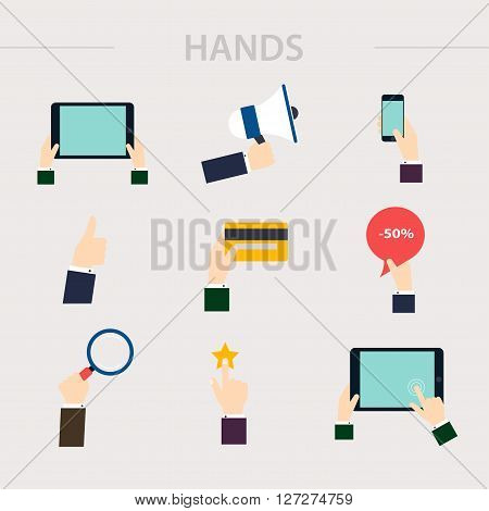 Flat Design Of Hand Icons Set. Concept Of Hand In Many Characters: Presenting, Showing, Using Tablet