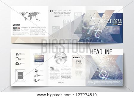 Vector set of tri-fold brochures, square design templates with element of world map and globe. DNA molecule structure on a blue background. Science vector background.