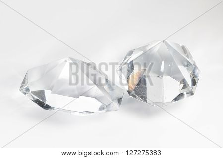 Two Glass Crystal On White Background