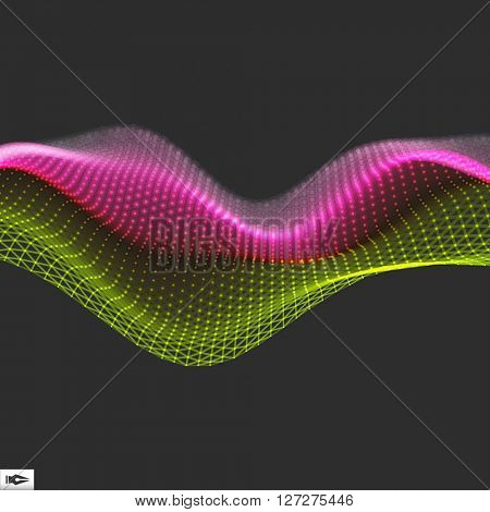 Wave with Connected Lines and Dots. Connection Structure. Wireframe Vector Illustration.