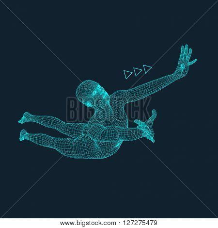 Jump Man. Polygonal Design. 3D Model of Man. Human Body Wire Model.