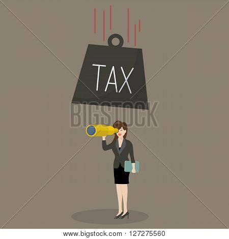 Heavy tax falling to careless business woman. Business finance concept