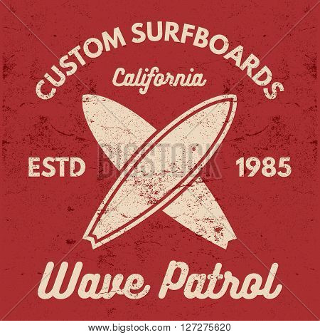 Vintage Surfing tee design. Retro t-shirt Graphics and Emblems for web design or print. Surfer, beach style logo design. Surf Badge Surfboard seal, elements, symbols. Summer boarding on waves. Vector