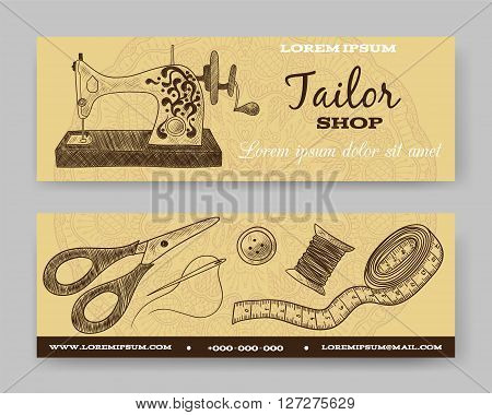 Website banner or header set. Tailor shop. Template for design. Thimble, needle, thread, bobbin, scissors, vintage sewing machine