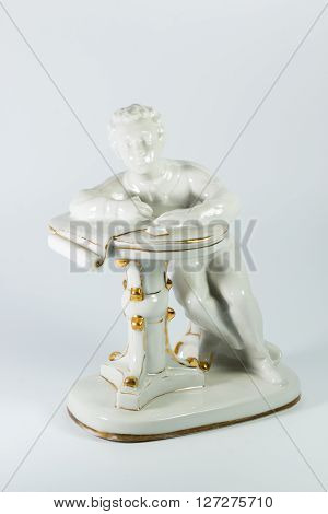 Porcelain Figurine Of Pushkin On White Background