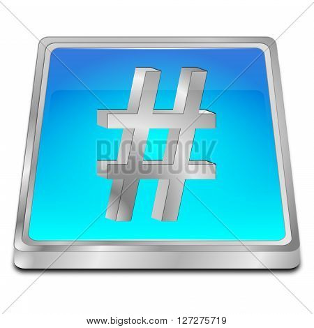 glossy blue Hashtag Button - 3D illustration