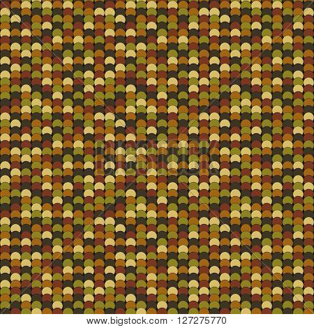 Seamless pattern made of dark muted brown yellow and green overlay circles with black outline