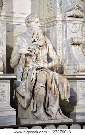 Statue Of Moses By Michelangelo In The Church Of San Pietro In Vincoli. Rome