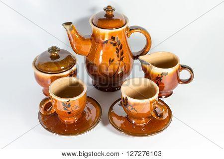 Old Ceramic Tea Set On White Background