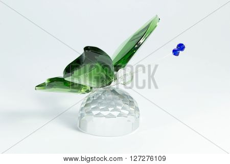 Glass Figurine Of Of A Butterfly On White Background