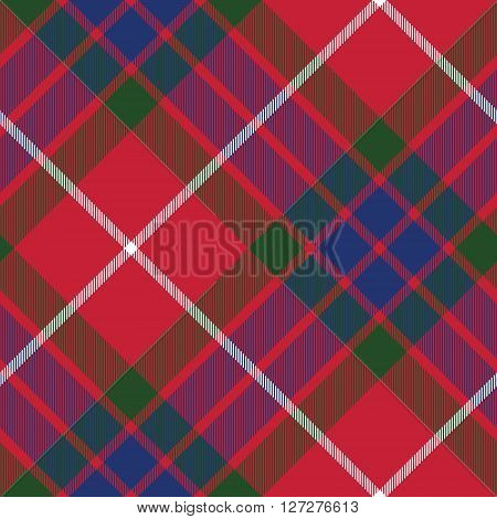 fraser tartan fabric texture seamless pattern diagonal. Vector illustration. EPS 10. No transparency. No gradients.