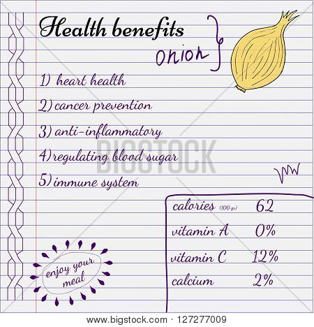 Health benefits of vegetables. Nutrition facts infografics. Hand-drawn health benefits.